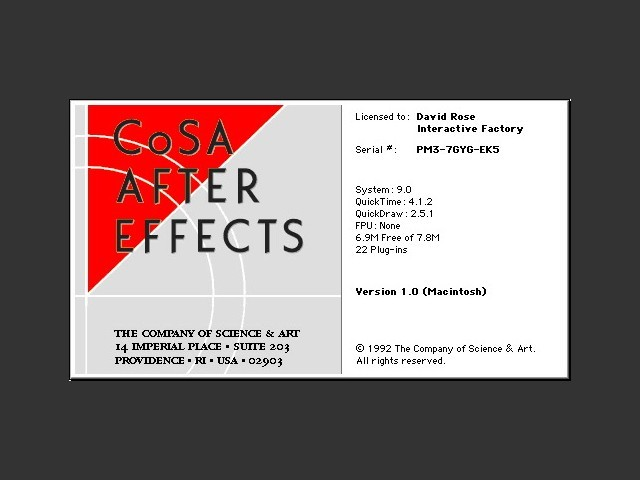 Primera versión de After Effects